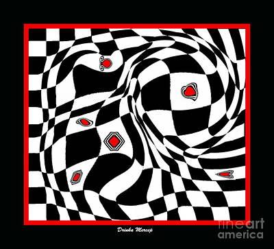 Op Art Geometric Black White Red Abstract Print No.70. Poster by Drinka Mercep