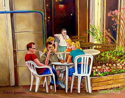 Open Air Cafe Parisian Style Bistro-rue St Denis Montreal Cafe Paintings Carole Spandau Poster by Carole Spandau