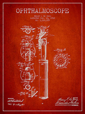 Ophthalmoscope Patent From 1915 - Red Poster by Aged Pixel