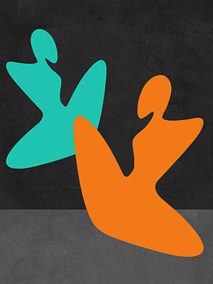 Orange And Blue Girls Poster by Naxart Studio