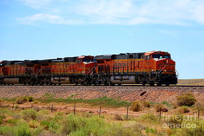 Orange Bnsf Engines Poster by Christiane Schulze Art And Photography