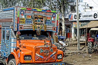 Orange Cab On Truck Poster by Linda Phelps