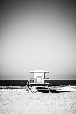 Orange County Lifeguard Tower Black And White Picture Poster by Paul Velgos