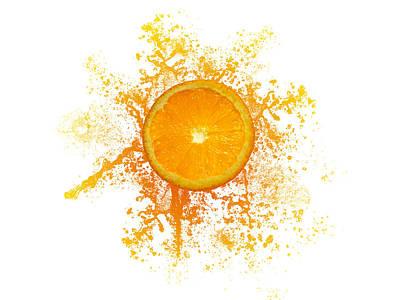 Orange Splash Poster by Aged Pixel