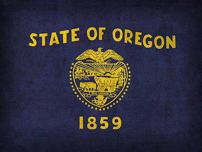 Oregon State Flag Art On Worn Canvas Poster by Design Turnpike