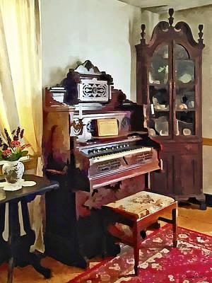 Organ In Victorian Parlor With Vase Poster by Susan Savad
