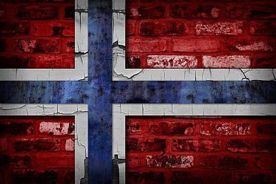 Organic Norway Flag Poster by Daniel Hagerman