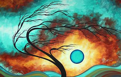 Original Bold Colorful Abstract Landscape Painting Family Joy I By Madart Poster by Megan Duncanson