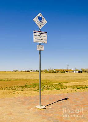 Original Midpoint Of Route 66 Signs In Adrian Texas Poster by Deborah Smolinske