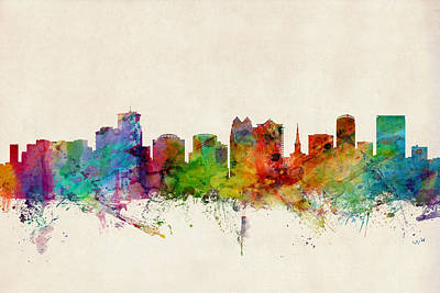 Orlando Florida Skyline Poster by Michael Tompsett