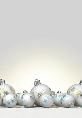 Ornate Matte White Christmas Baubles Poster by Allan Swart