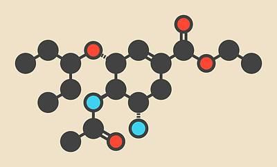 Oseltamivir Influenza Virus Drug Molecule Poster by Molekuul