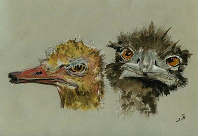 Ostrichs Head Study Poster by Juan  Bosco