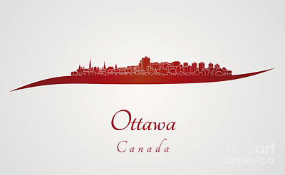 Ottawa Skyline In Red Poster by Pablo Romero