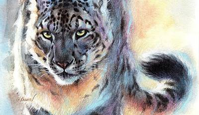 Out Of Nowhere - Snow Leopard Poster by Christine Karron