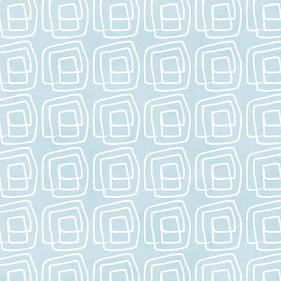 Out Of The Box Blue And White Pattern Poster by Linda Woods
