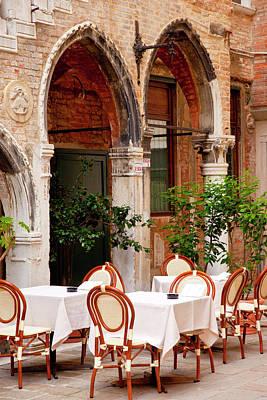 Outdoor Restaurant In Venice, Italy Poster by Brian Jannsen