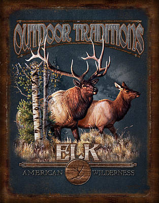 Outdoor Traditions Elk Poster by JQ Licensing