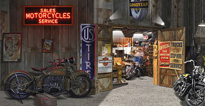 Outside The Motorcycle Shop Poster by Mike McGlothlen
