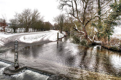 Overflowing River In Winter Poster by Gill Billington