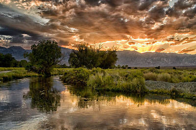 Owens River Sunset Poster by Cat Connor