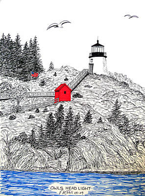 Owls Head Lighthouse Dwg Poster by Frederic Kohli