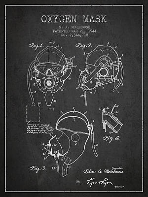 Oxygen Mask Patent From 1944 - Charcoal Poster by Aged Pixel