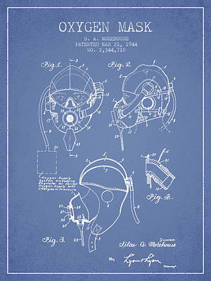 Oxygen Mask Patent From 1944 - Light Blue Poster by Aged Pixel