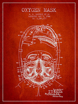 Oxygen Mask Patent From 1944 - One - Red Poster by Aged Pixel