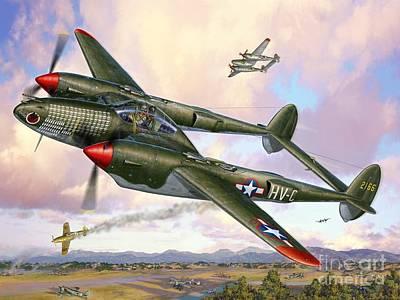 P-38f Lightning Sicilian Summer Poster by Stu Shepherd