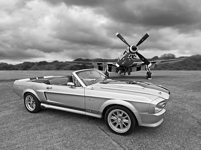 P51 Meets Eleanor In Black And White Poster by Gill Billington