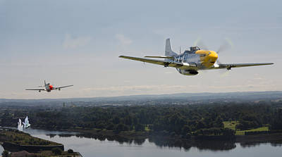 P51 Mustang - Rail Strike Poster by Pat Speirs