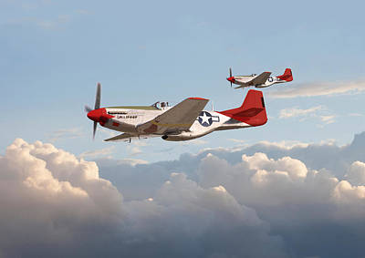 P51 Mustangs - Red Tails Poster by Pat Speirs
