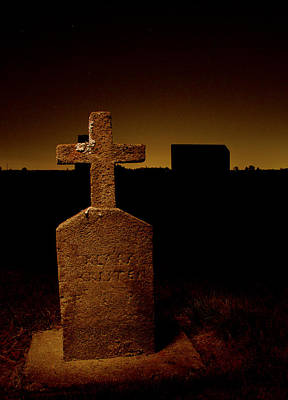 Painted Cross In Graveyard Poster by Jean Noren