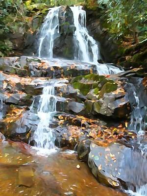 Painted Falls In The Smokies Poster by Dan Sproul