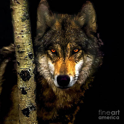 Painting ... Wolf In Aspen Grove Poster by Bob and Nadine Johnston
