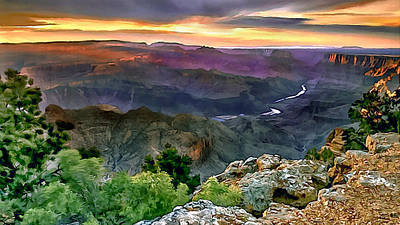 Painting Of Desert View Grand Canyon Poster by Bob and Nadine Johnston