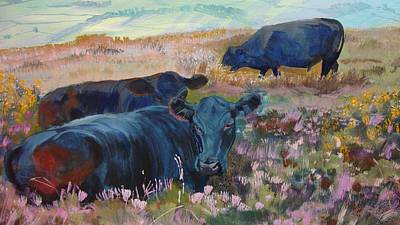 Painting Of Three Black Cows In Landscape Without Sky Poster by Mike Jory