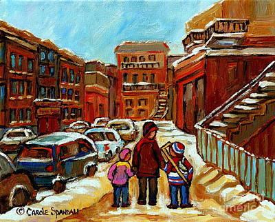 Paintings Of Baron Byng High School St Urbain A Winter Walk Down Memory Lane Montreal Art Carole  Poster by Carole Spandau