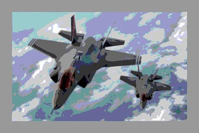 Pair Of F-35 Lightenings In Formation Enhanced Poster by L Brown