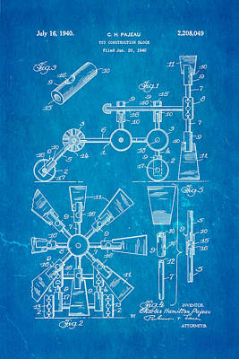 Pajeau Tinker Toy Patent Art 1940 Blueprint Poster by Ian Monk