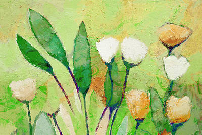 Pale Green Floral Poster by Lutz Baar