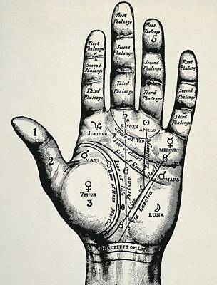 Palmistry. Planetary And Zodiacal Poster by Everett
