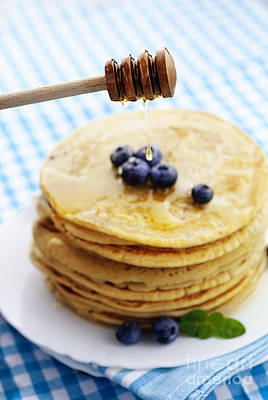 Pancakes With Honey Poster by Mythja  Photography