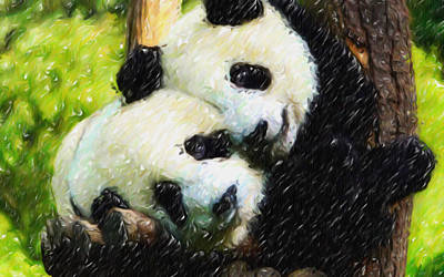Panda Bear And Her Cub 1 Poster by Lanjee Chee