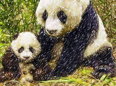 Panda Bear And Her Cub Poster by Lanjee Chee