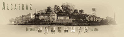 Panorama Alcatraz Infamous Inmates Sepia Poster by Scott Campbell