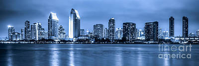 Panorama Of Blue San Diego Skyline At Night Poster by Paul Velgos