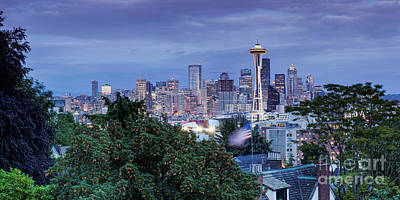 Panorama Of Downtown Seattle And Space Needle From Kerry Park At Dusk - Seattle Washington State Poster by Silvio Ligutti
