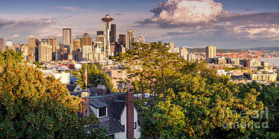 Panorama Of Downtown Seattle And Space Needle From Kerry Park - Seattle Washington State Poster by Silvio Ligutti